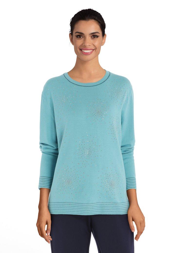 Afbeelding van Turquoise trui met zilverkleurige strass