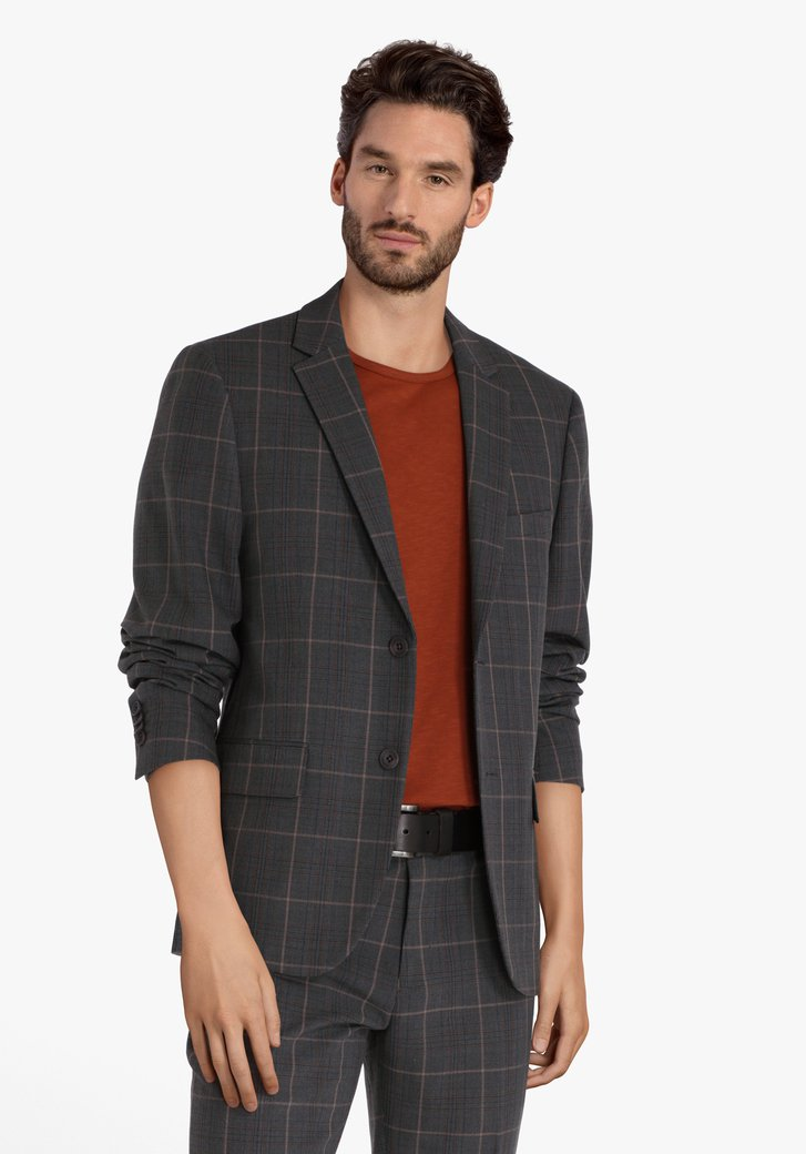 Veste de comstume gris à carreaux - slim fit