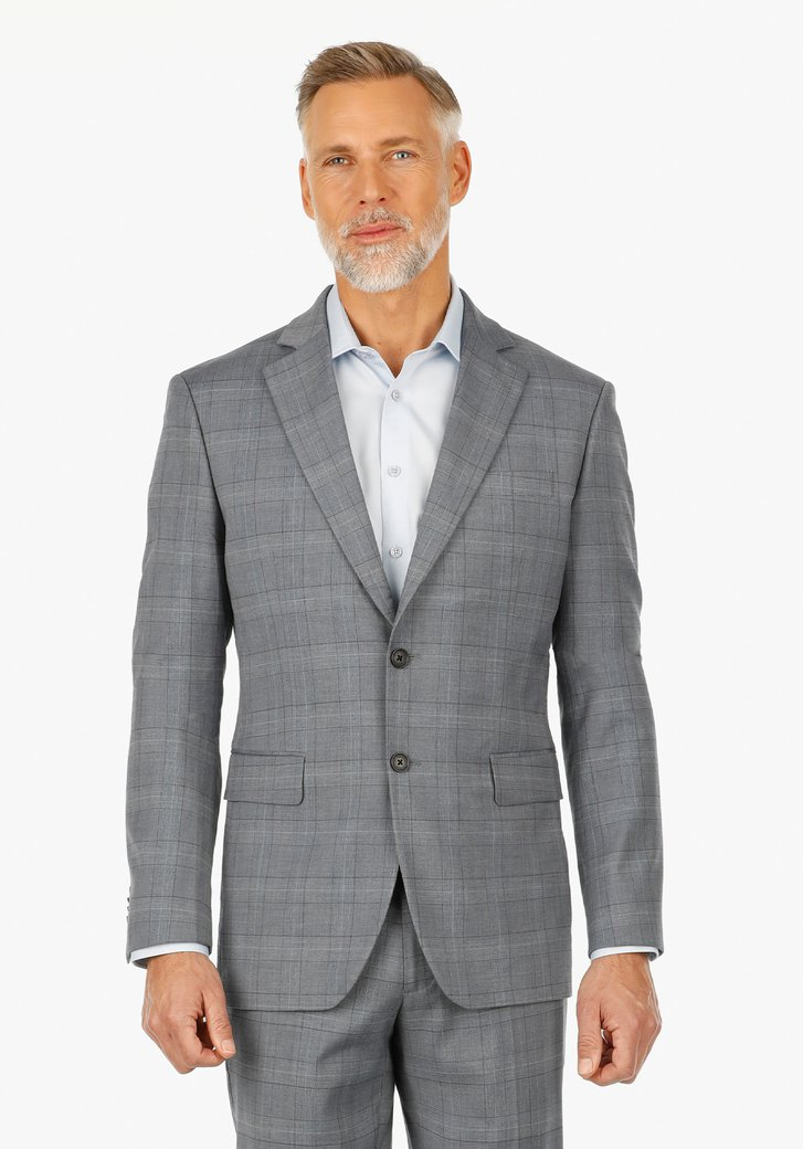 Veste de costume à carreaux gris - slim fit