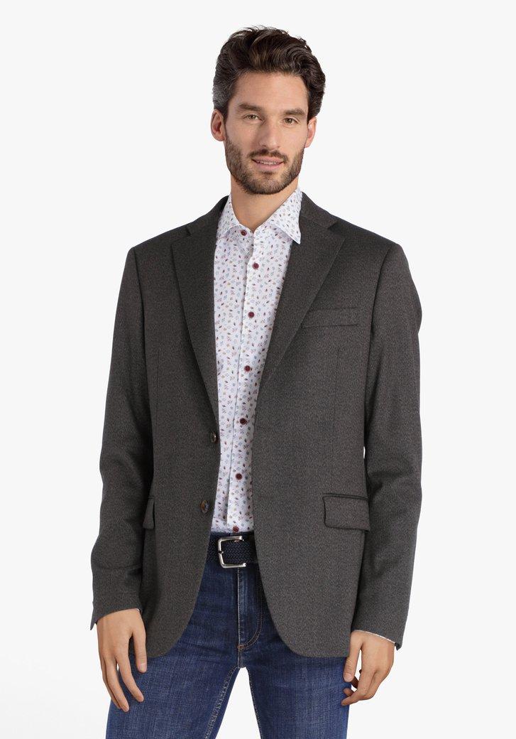 Veste de costume brun à motif à chevrons-slim fit