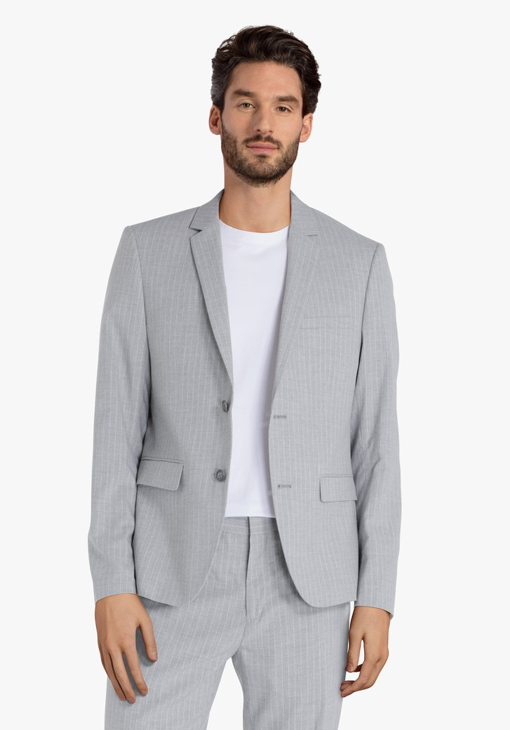 Veste de costume gris clair à rayures - slim fit
