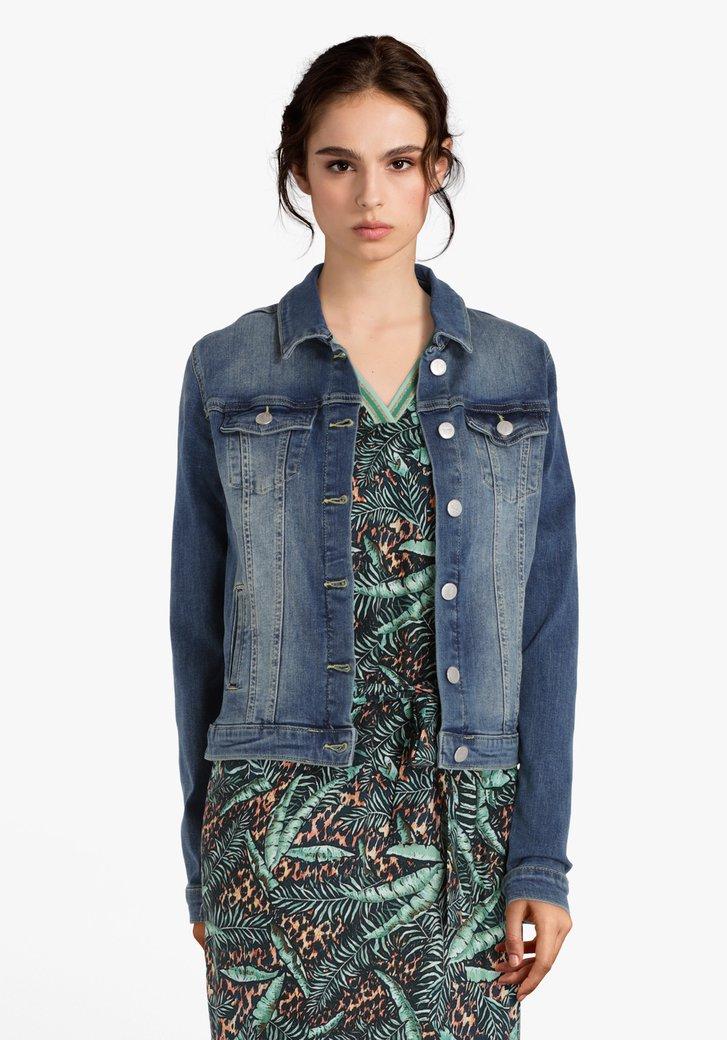 Veste en jean bleu foncé en coton stretch