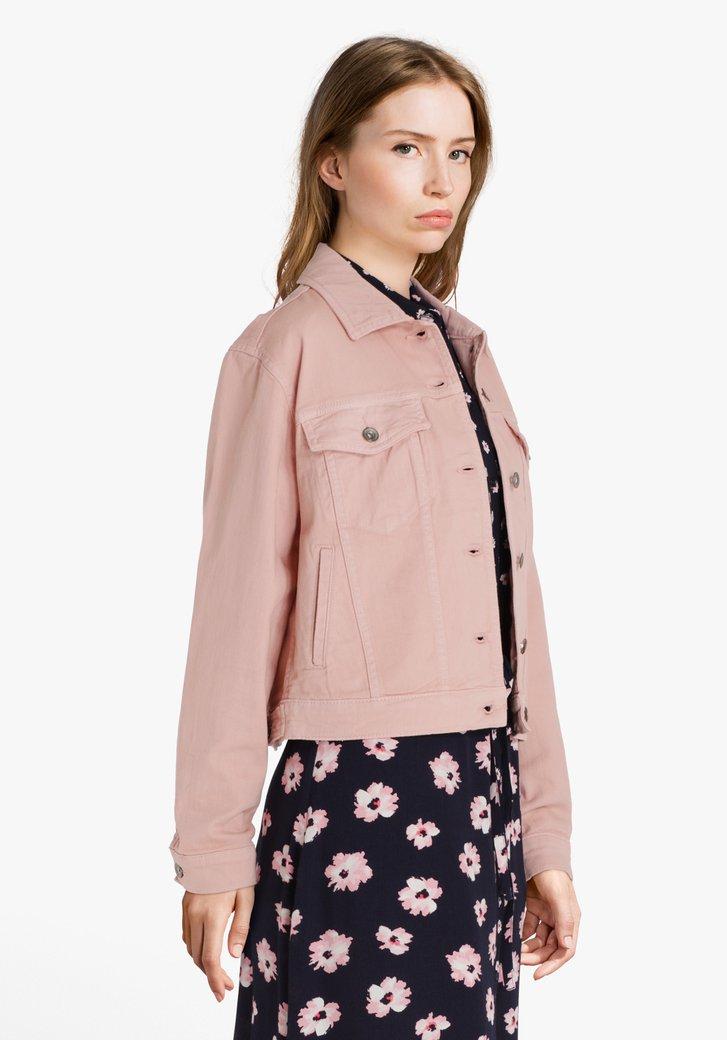 Veste en jean rose clair en coton stretch