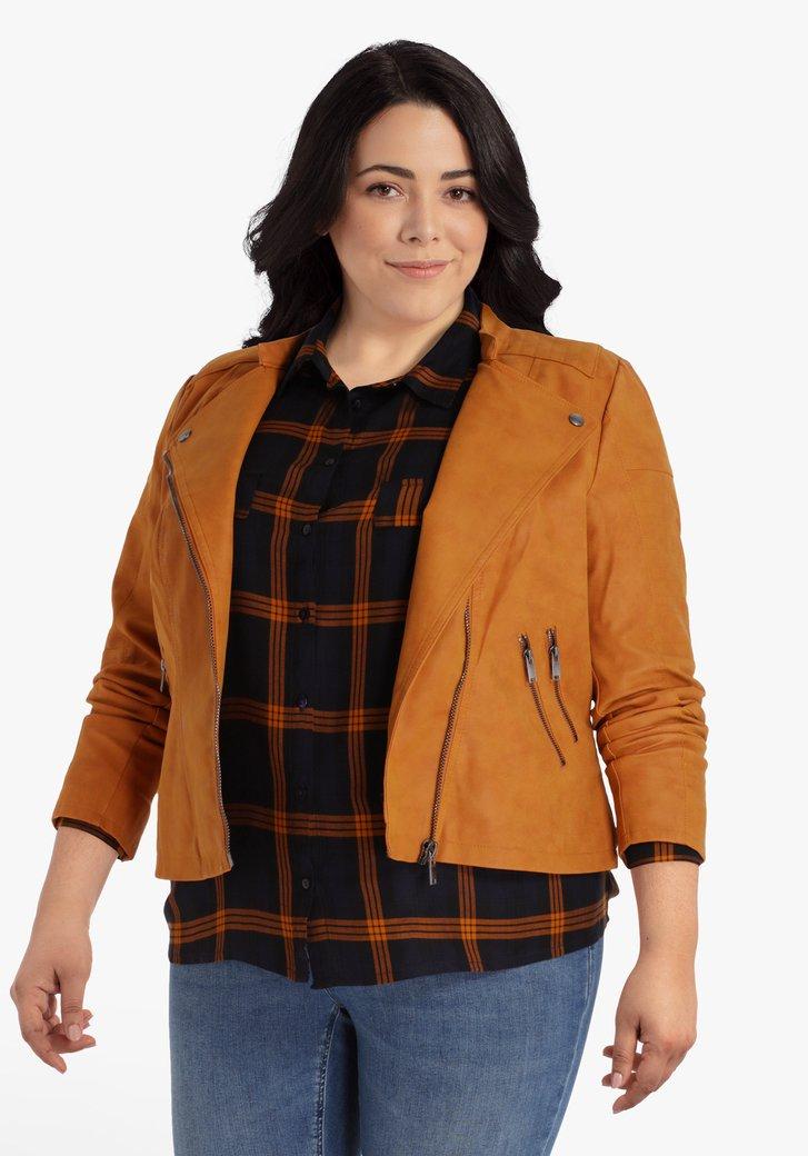 Veste orange avec fermeture éclair inclinée
