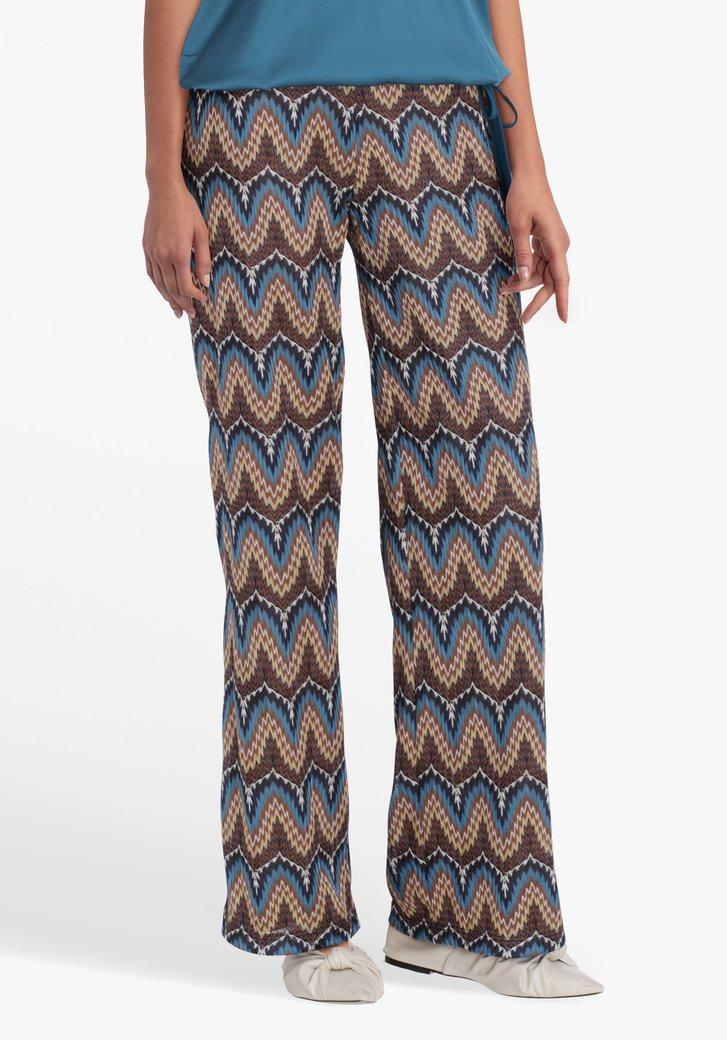 Wijde broek met bruin-blauwe print