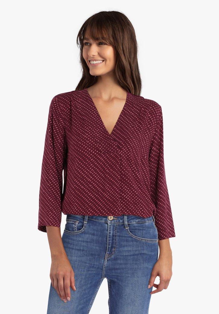 Wijnrode blouse met roze print