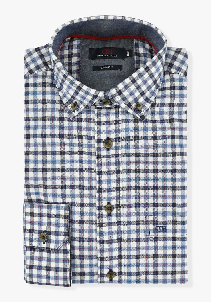 Wit-blauw geruit hemd - comfort fit