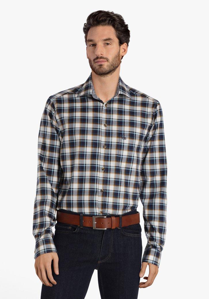 Wit-blauw geruit hemd - regular fit