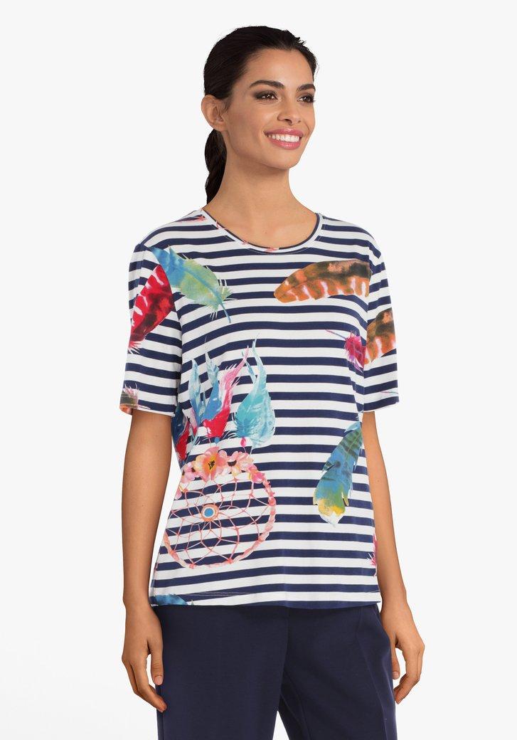 Wit-blauw gestreept T-shirt met bloemen
