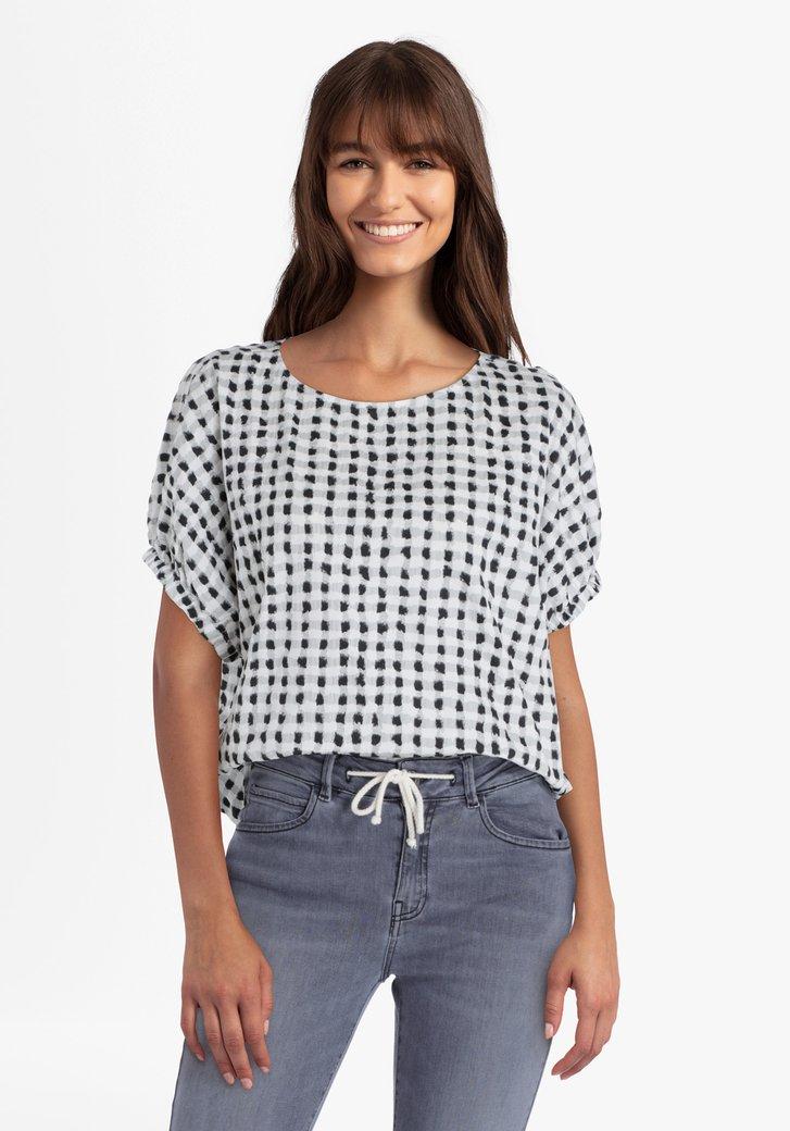 Wit geruite blouse met vleermuismouwen