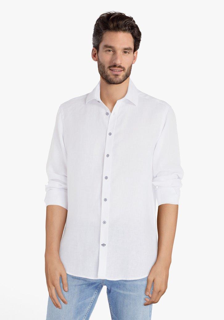 Wit hemd in linnen - regular fit
