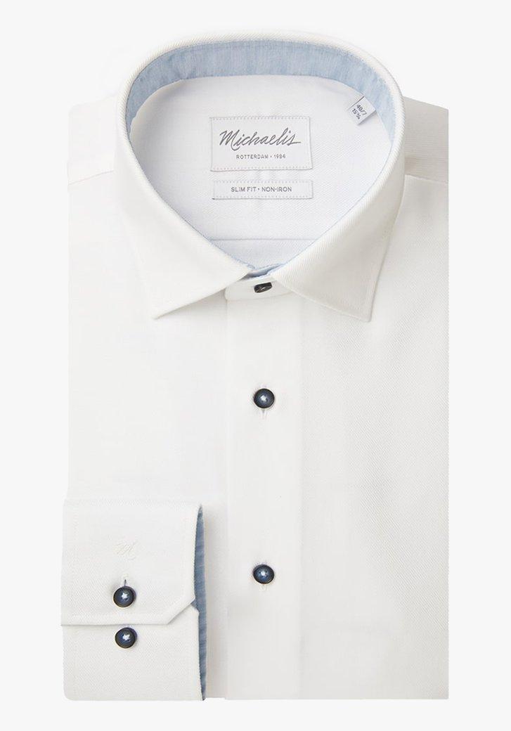 Wit hemd in structuurstof - slim fit