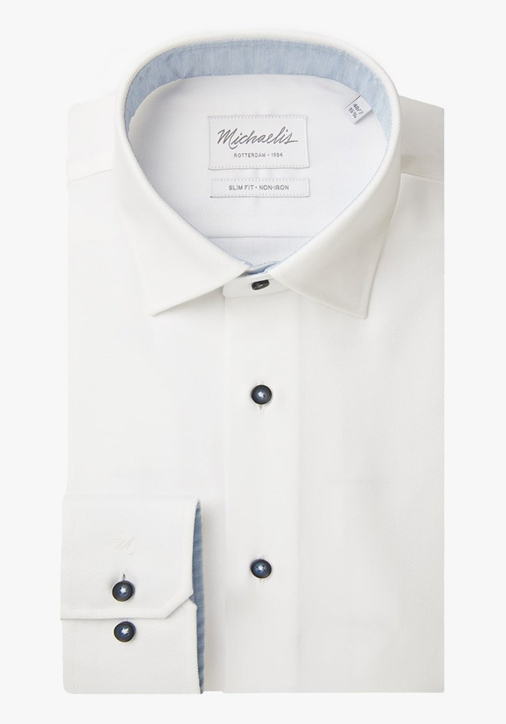 Afbeelding van Wit hemd in structuurstof - slim fit