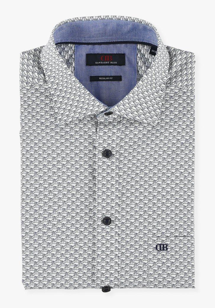 Wit hemd met autoprint - regular fit