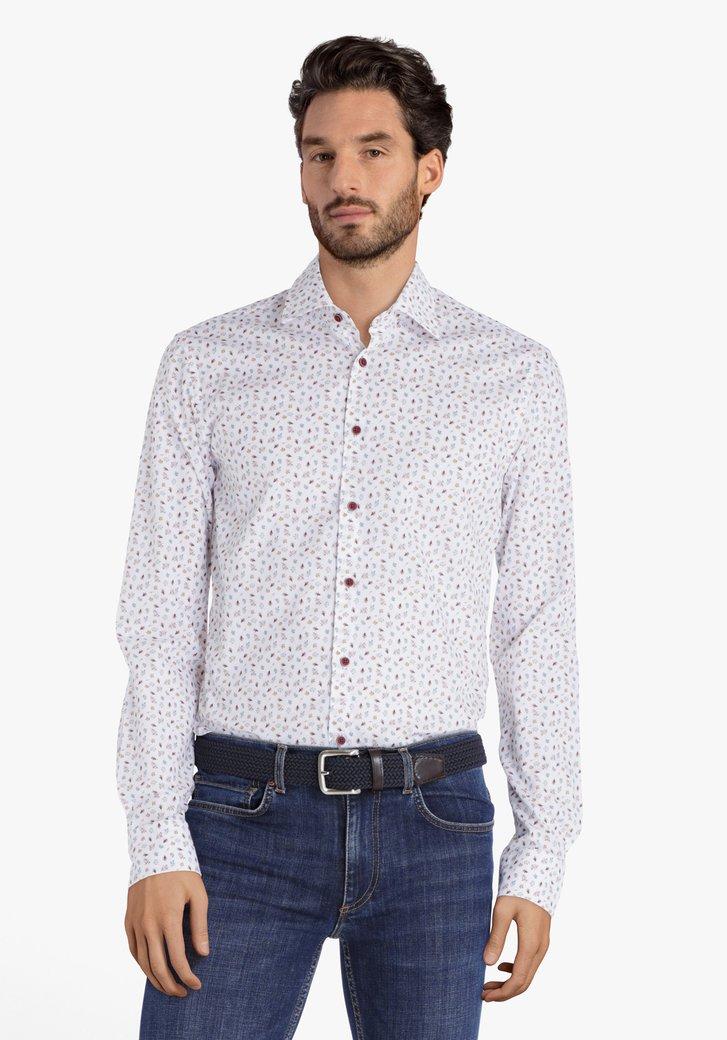 Wit hemd met bladerprint - slim fit