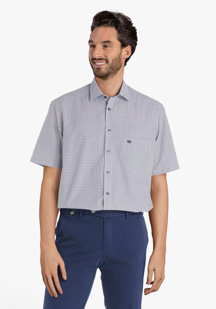 Wit hemd met blauw bolletjesmotief - comfort fit