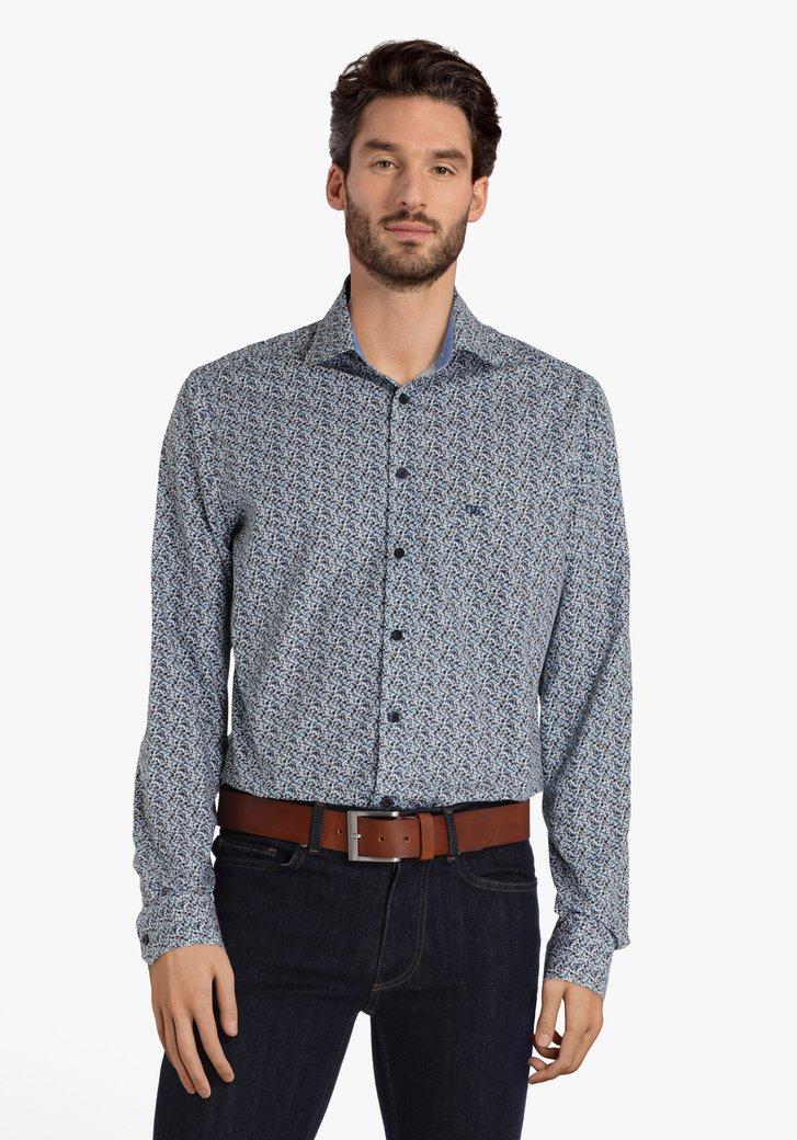 Wit hemd met blauw-bruine print - regular fit