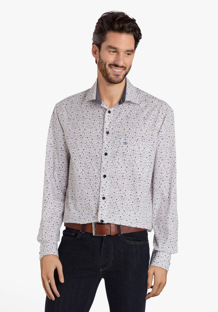 Wit hemd met blauw-gouden miniprint - comfort fit