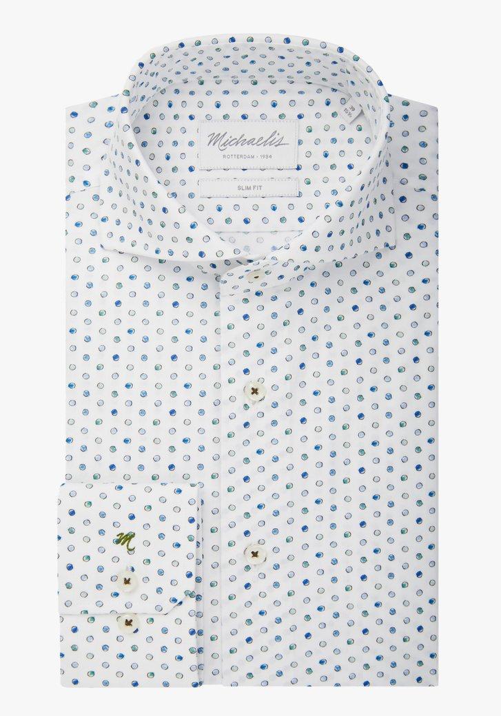 Wit hemd met blauw-groene bolletjes - slim fit