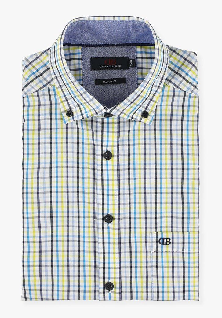 Wit hemd met blauw-groene ruiten - regular fit