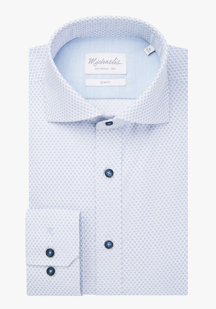 Wit hemd met blauw motief - slim fit