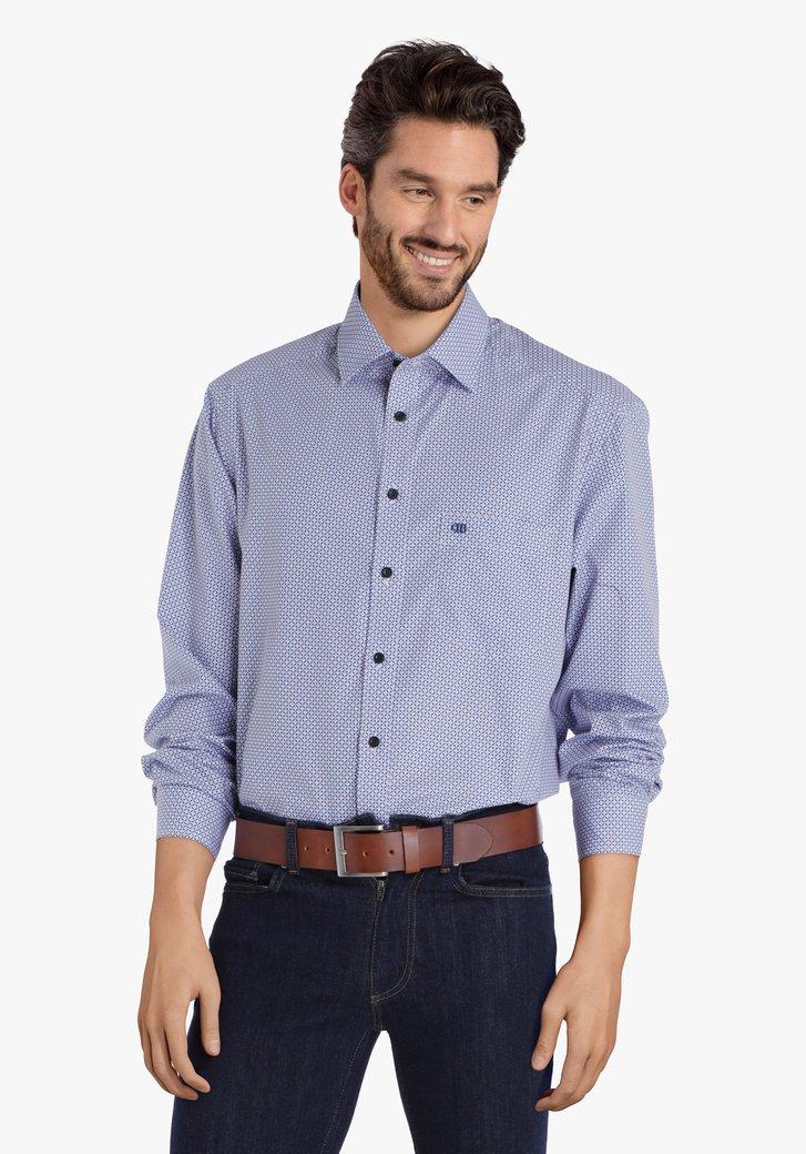Wit hemd met blauw-oranje print - comfort fit
