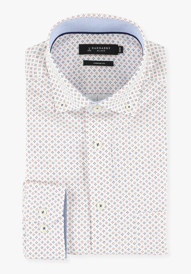 Wit hemd  met blauw-rode miniprint - comfort fit