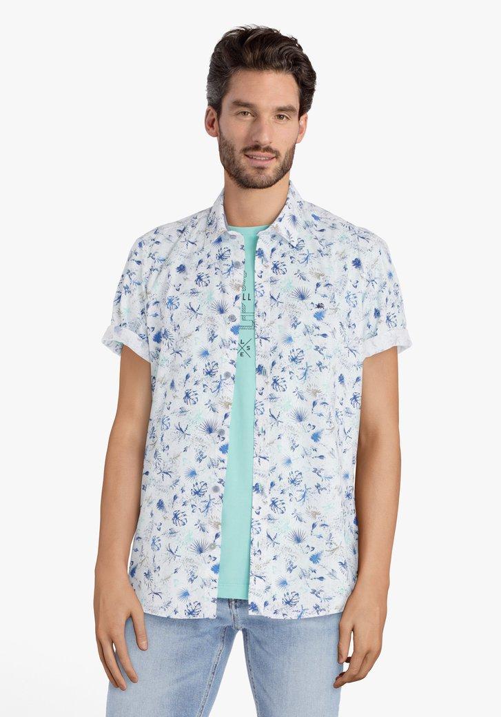 Wit hemd met blauwe bladerprint
