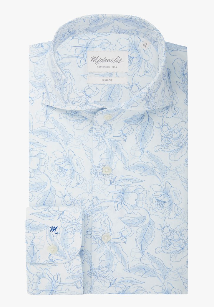 Wit hemd met blauwe bloemenprint - slim fit