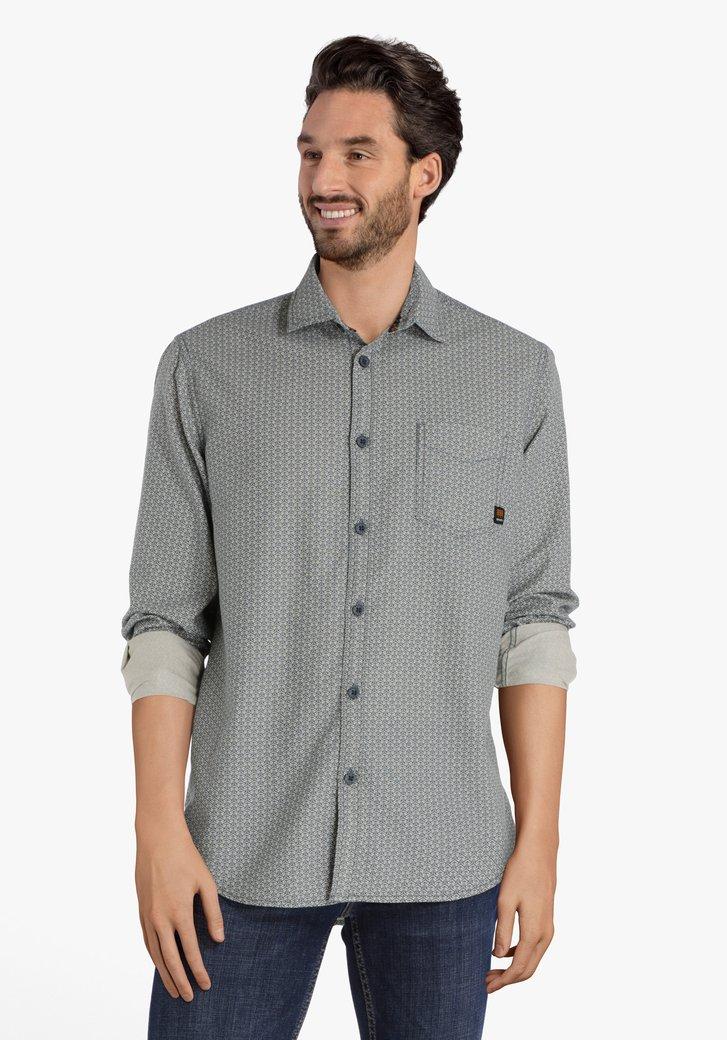 Wit hemd met blauwe geometrische print