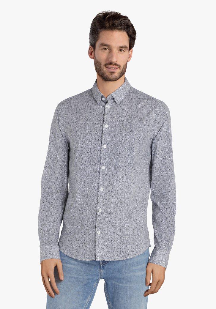 Wit hemd met blauwe miniprint – slim fit