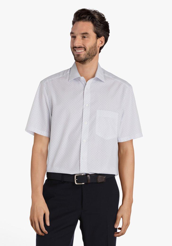 Wit hemd met blauwe miniprint - comfort fit