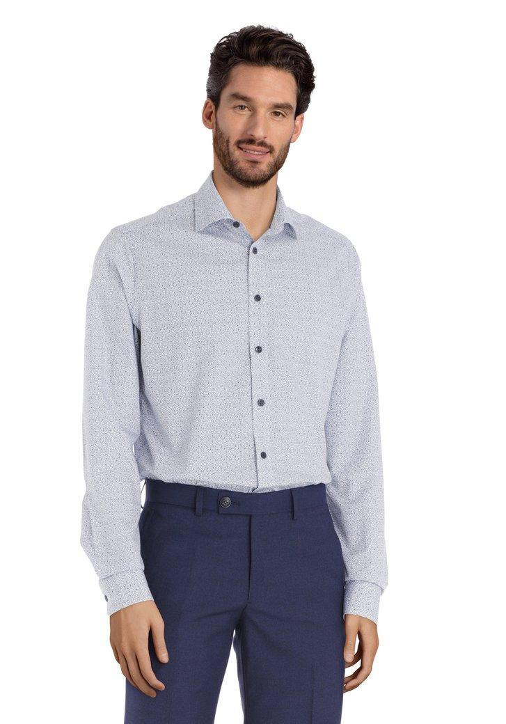 Afbeelding van Wit hemd met blauwe miniprint - regular fit