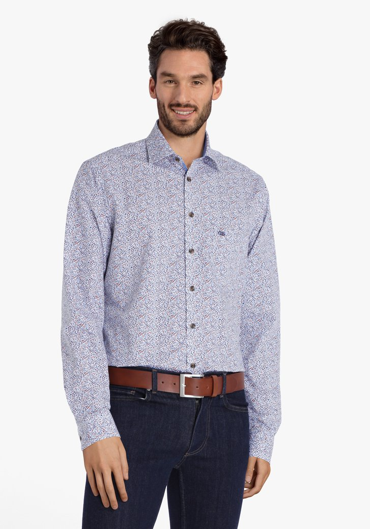 Wit hemd met blauwe miniprint - regular fit