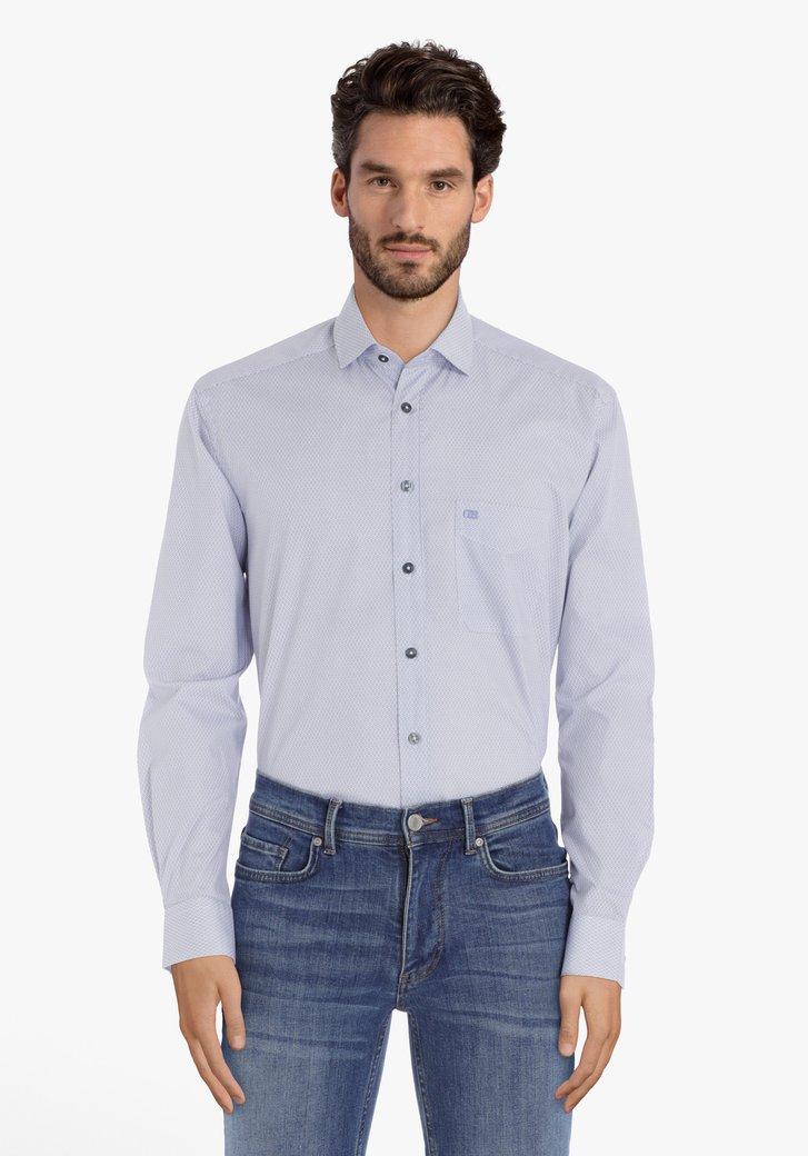 Wit hemd met blauwe print – comfort fit