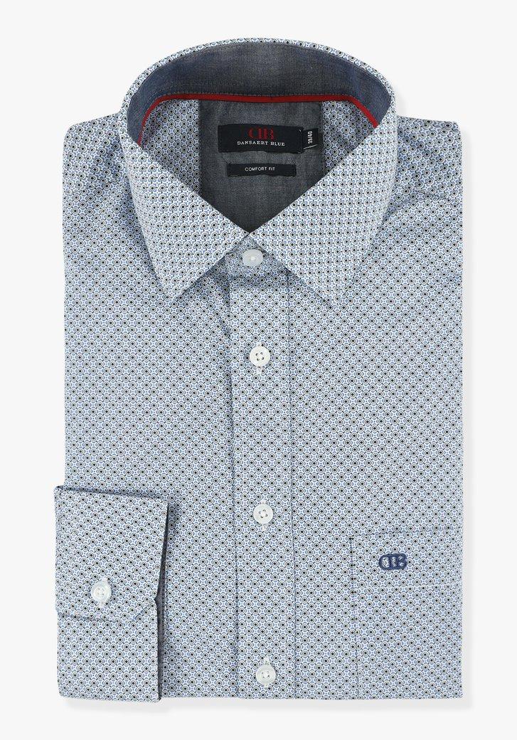 Wit hemd met blauwe print - comfort fit
