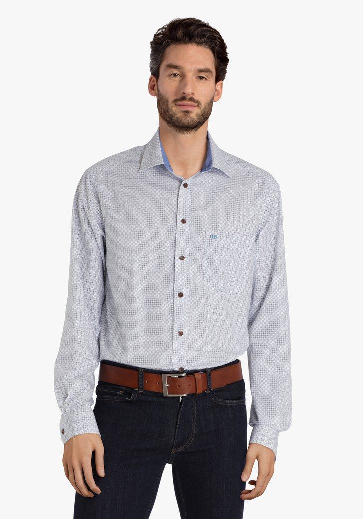 Wit hemd met blauwe ronde motiefjes - comfort fit