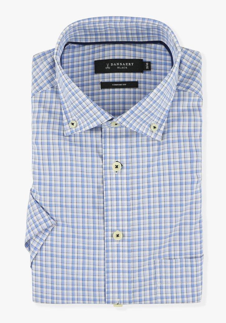 Wit hemd met blauwe ruiten - comfort fit
