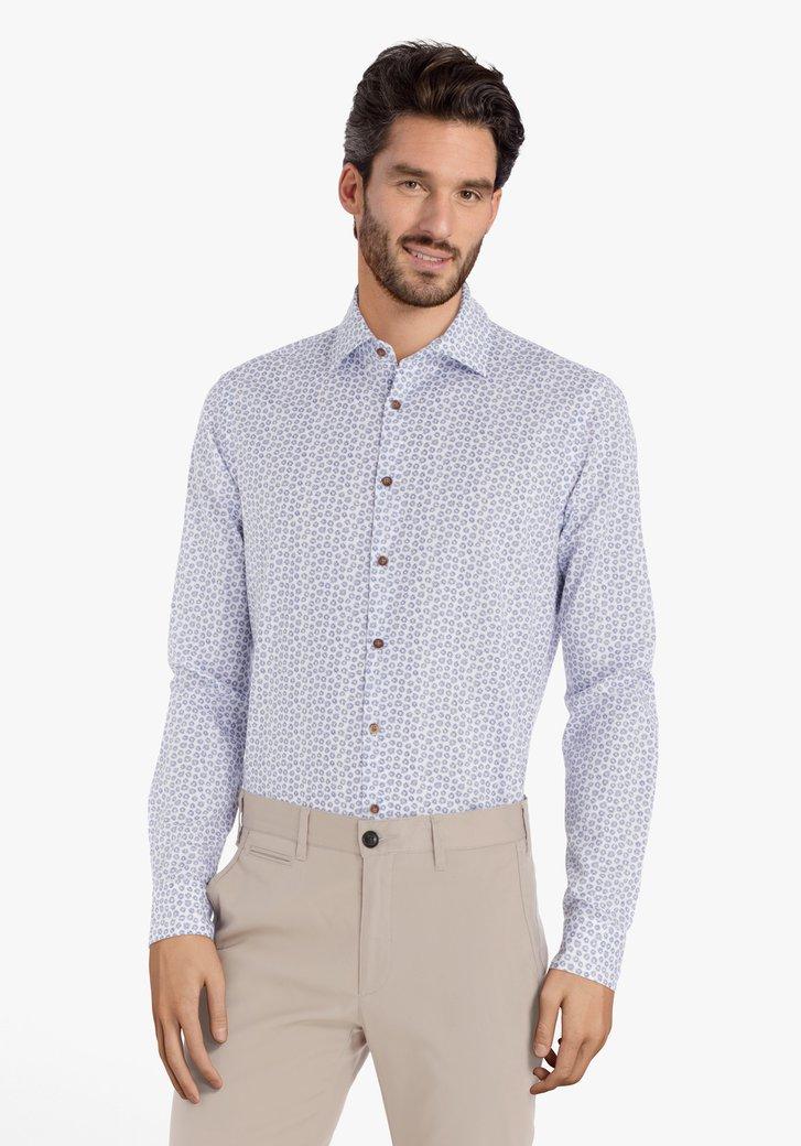 Wit hemd met blauwe sterren – slim fit