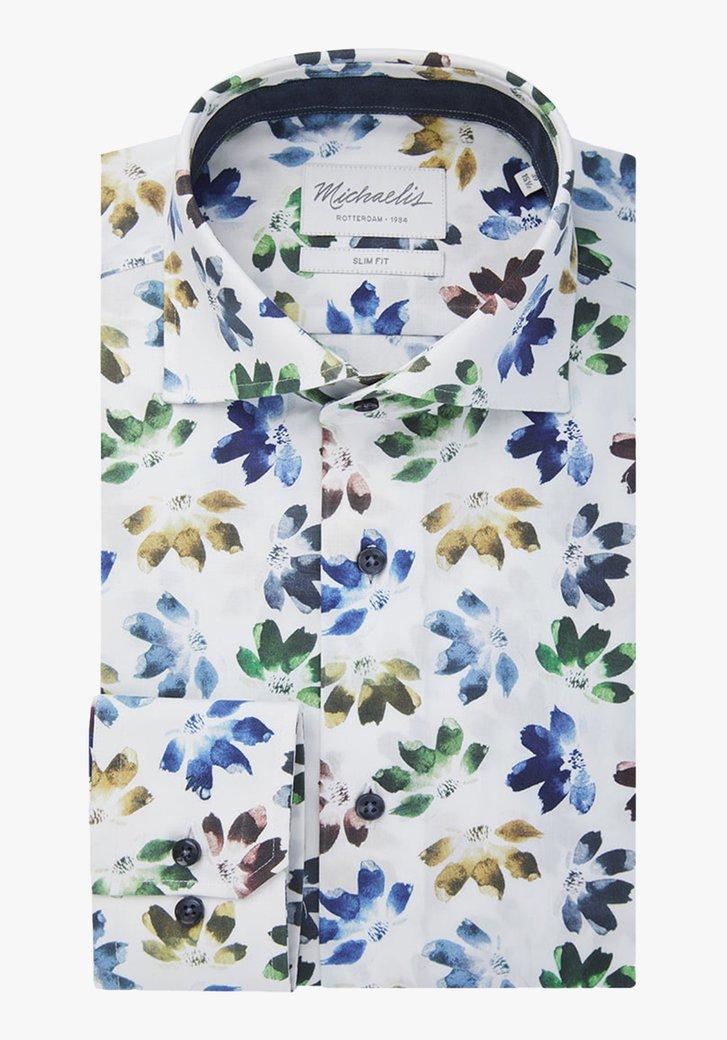 Wit hemd met bloemenprint - slim fit