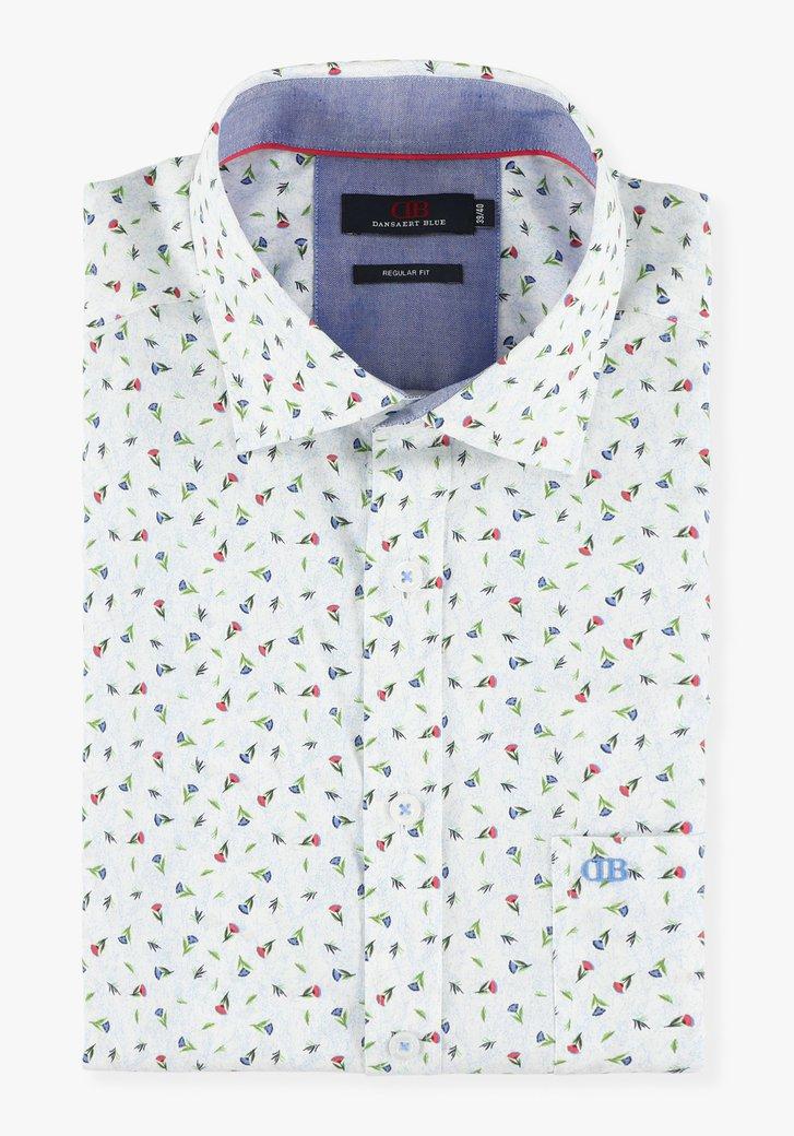Wit hemd met bloemetjes - regular fit