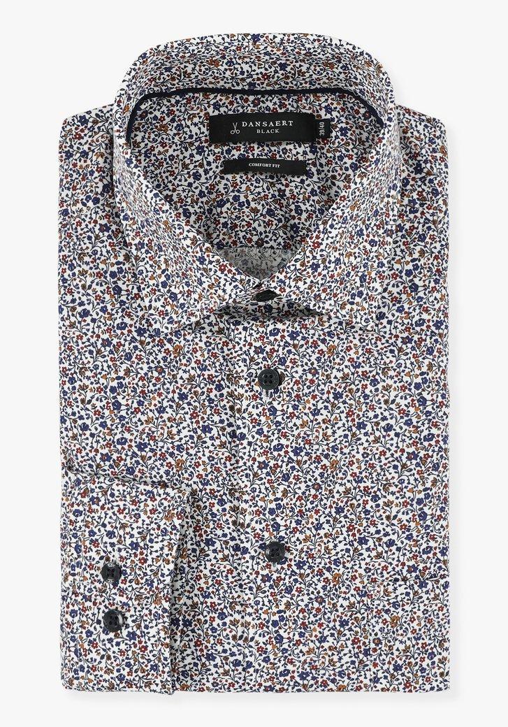 Wit hemd met bloemetjesprint - comfort fit