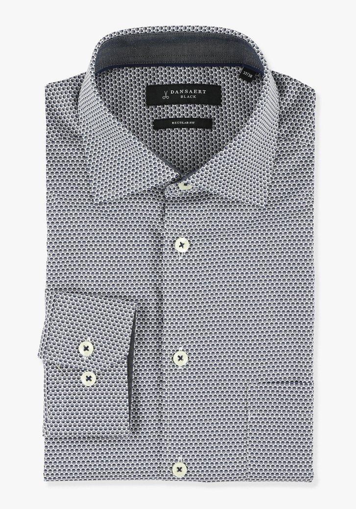 Wit hemd met bolletjesprint - regular fit
