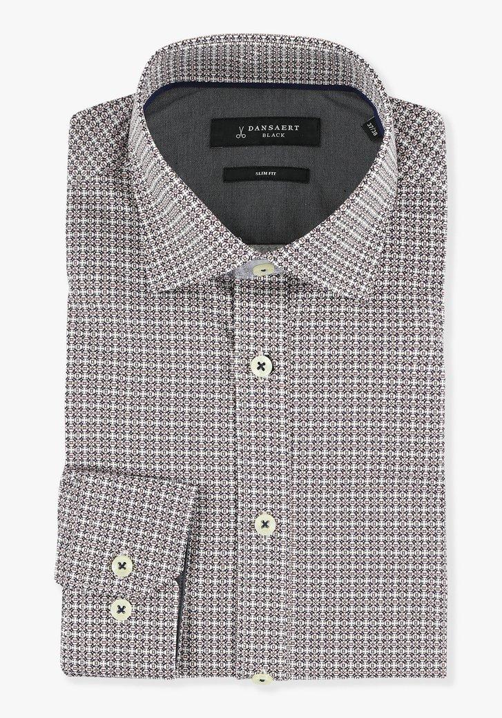 Wit hemd met bordeaux-blauwe print - slim fit
