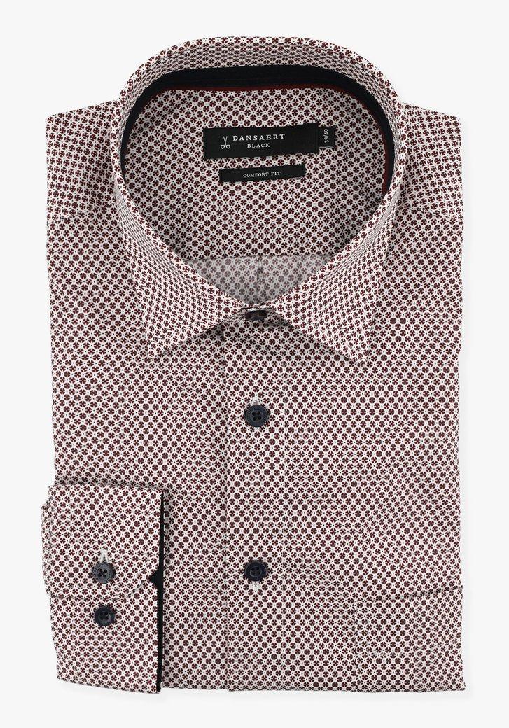 Wit hemd met bordeaux print - comfort fit