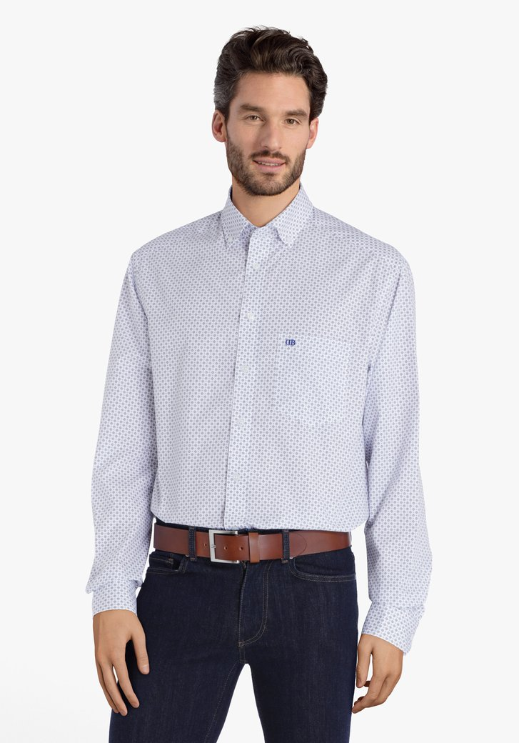Wit hemd met dunne blauwe print - comfort fit