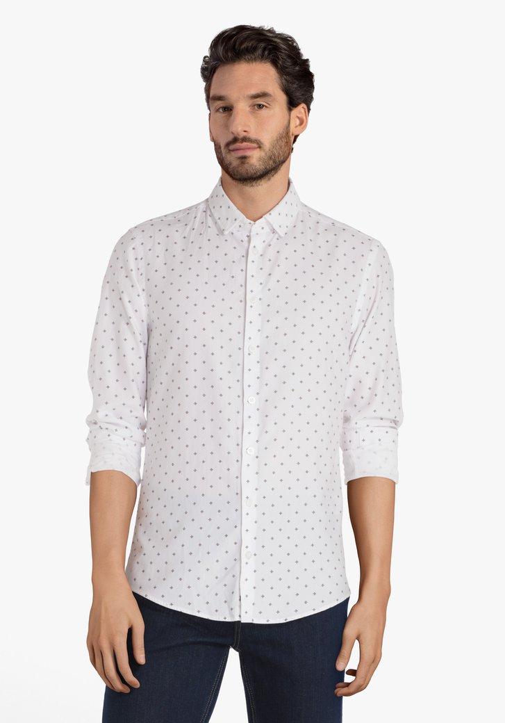Wit hemd met fijn motief - regular fit