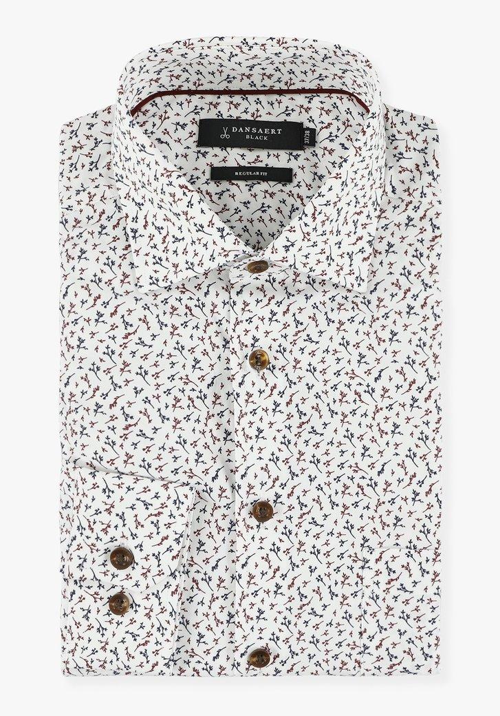 Wit hemd met fijne bladerprint - regular fit