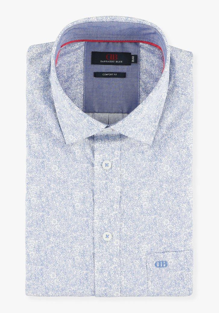 Wit hemd met fijne blauwe bloemen - comfort fit