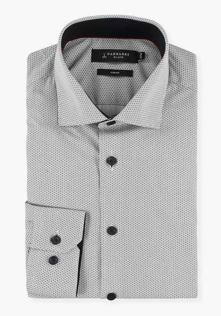 Wit hemd met fijne navy print - slim fit